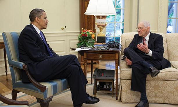James Sterling Young '49 with President Barack Obama in 2010