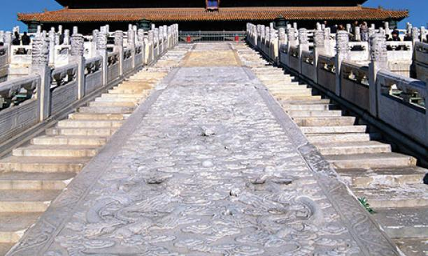Researchers speculate that the Large Stone Carving (between the stairs) at Beijing's Forbidden City was hauled along an ice-slicked roadway.