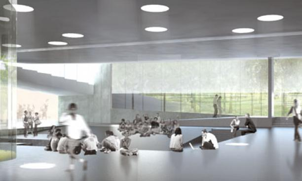 The forum level will connect the three arts buildings, serving as a commons and space for events.