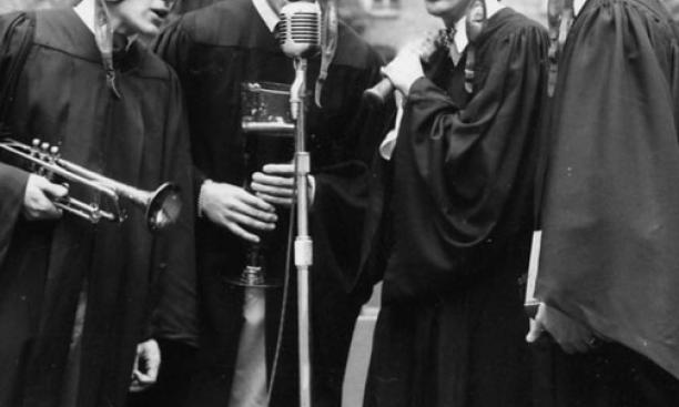 "J. Mahlon ""Jim"" Buck '46, second from right, sang with fellow Nassoons, from left, Don Finnie '47, Ed Knetzger '46, and Al Burr '49 at the 1948 Class Day ceremony."