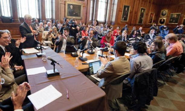 Christopher Eisgruber '83 meets the press as his selection as Princeton's next president is announced April 21 in the Faculty Room of Nassau Hall.