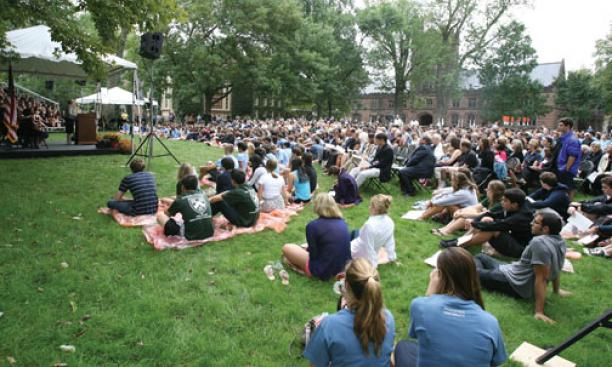 President Tilghman addresses freshmen and other members of the Princeton community at a Gathering of Remembrance Sept. 11 on Cannon Green.