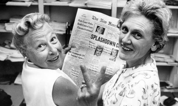 Above left, Estelle Griswold, medical adviser and executive director of the Planned Parenthood clinic in New Haven, Conn., and Cornelia Jahncke, at right, president of ­the Planned Parenthood League of ­Connecticut, celebrating ­victory in a 1965 case