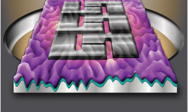 A new photovoltaic cell developed by ­Professor Lynn Loo's research team is more efficient and tougher than ­traditional cells. Folds on the cell's ­surface, shown in the rendering, right, increase efficiency by guiding light waves.