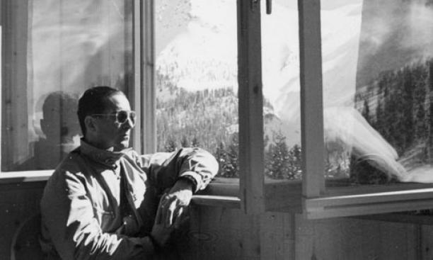 Moe Berg '23 in Switzerland, February 1946.