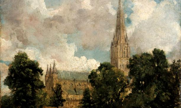 John Constable, British, 1776–1837: Salisbury Cathedral from the South West, ca. 1820. Oil on canvas, 25.1 X 30.2 cm. The Victoria and Albert Museum.