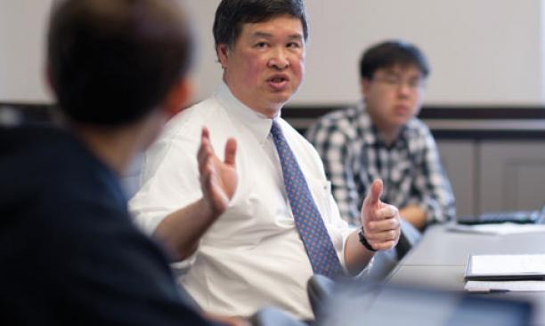 "Thinking about ""our identities and backgrounds, justice, and the legal system"" was the focus of a course co-taught by appeals-court judge Denny Chin '75, above."