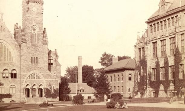 An 1884 photo shows four buildings that no longer stand: the School of Science; the dynamo building, a source of power; the biological laboratory; and the original Dickinson Hall