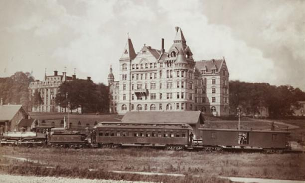 The Dinky station near Witherspoon Hall, circa 1880