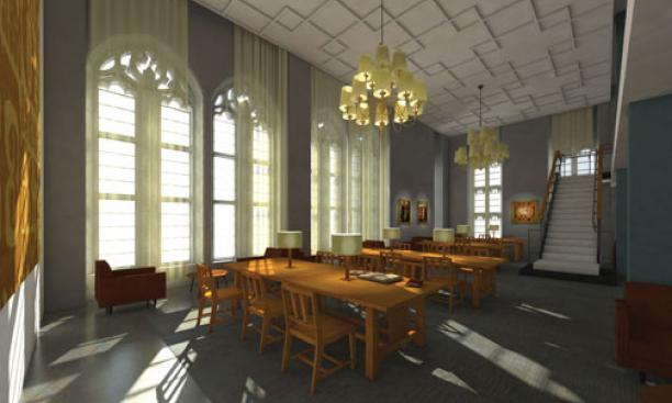 This rendering shows how the former faculty lounge on the third floor of Firestone Library, with its large gothic windows facing the Chapel, will be restored as one of the library's primary reading spaces.
