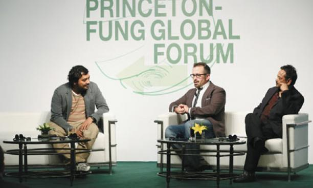 Filmmakers Andrew Jarecki '85, center, and Anurag Kashyap, left, with Princeton professor Gyan Prakash during the University's first global forum in Shanghai.