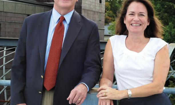 H. Vincent Poor *77, Dean of the Engineering School, and Emily A. Carter, Director of the Andlinger Center for Energy and the Environment.