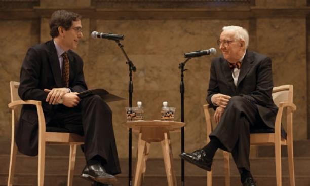Former Supreme Court Justice John Paul Stevens, right, is questioned by Provost Christopher Eisgruber '83, one of Stevens' former law clerks, during an October 2011 conversation in Richardson Auditorium.