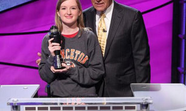 Terry O'Shea '16, pictured with Alex Trebek, is a lifelong Jeopardy! fan. (Photo: Courtesy Jeopardy! Productions Inc.)