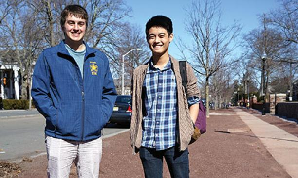 """Hose Bicker"" leaders Joseph LoPresti '15, left, and Ryan Low '16 on Prospect Avenue."