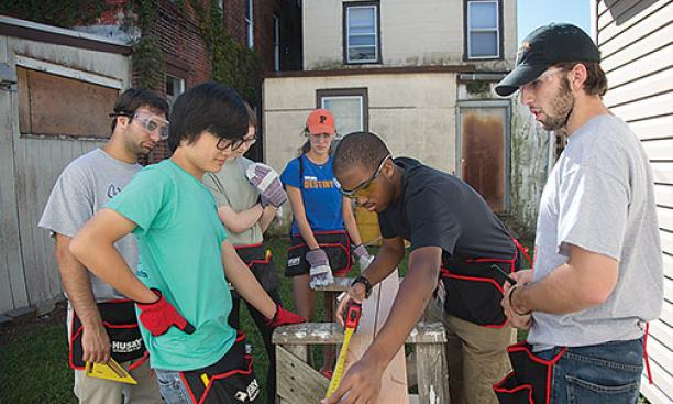 Princeton students help to renovate a Habitat for Humanity home in Trenton, N.J., in August 2013 as part of the Community Action program.