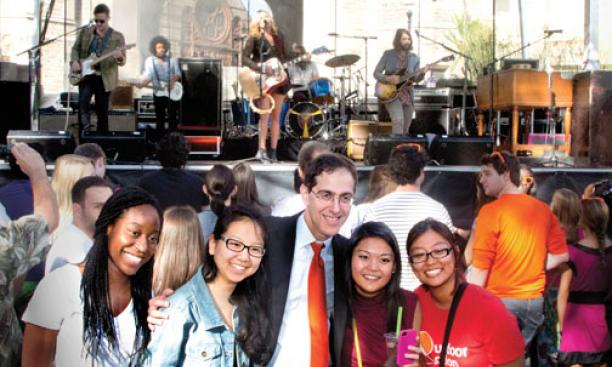 President Eisgruber '83 poses with students during the concert that followed his installation.