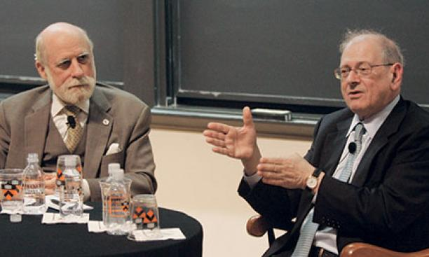 """Fathers of the Internet"" Vinton Cerf, left, and Bob Kahn *64"