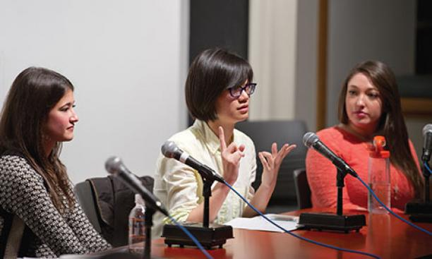 Newly elected USG president Ella Cheng '16, center, makes a point at a December panel. Catherine Ettman '13, left, and Molly Stoneman '16 also have run for the USG's top office.