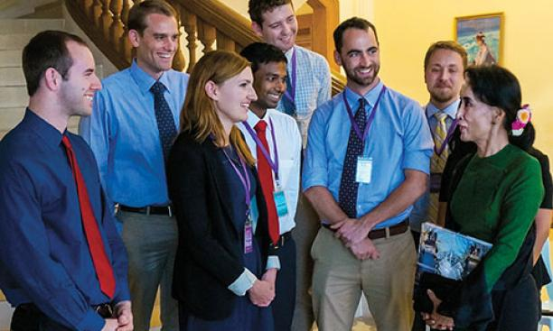 Woodrow Wilson School MPA students meet with opposition-party leader Aung San Suu Kyi, far right, in Myanmar.