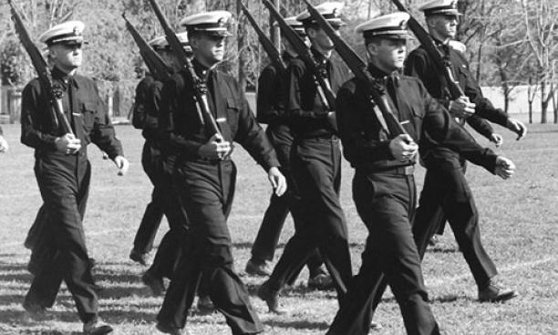 NROTC students in formation, pictured in the 1964 Bric-A-Brac.