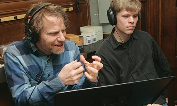 Mackey, left, with producer Jesse Lewis.