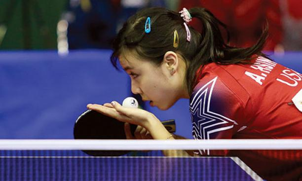 Ariel Hsing '17 prepares to serve during a 2013 competition in Morocco.