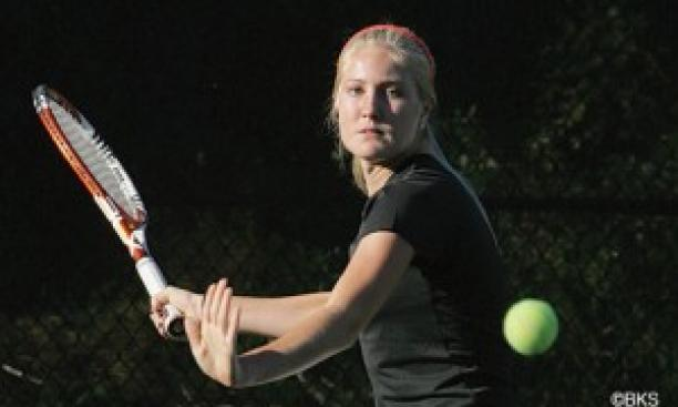 Freshman Alanna Wolff won the clinching singles match against Arizona State. (Beverly Schaefer)