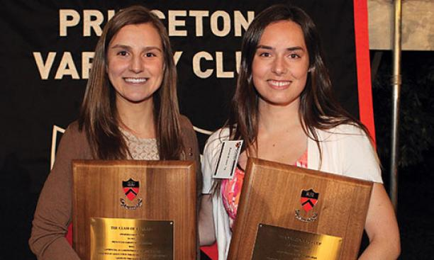 Rachel Zambrowicz '14, left, and Randi Brown '14 shared the award for highest academic standing among senior athletes.