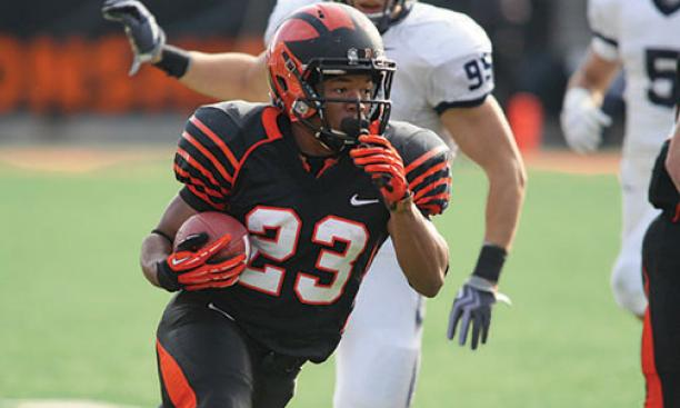 Tailback Dre Nelson '16 ran for two touchdowns against Yale.