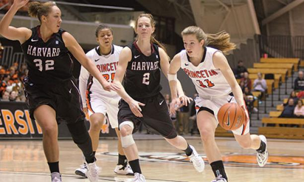 Guard Blake Dietrick '15 in action against Harvard.
