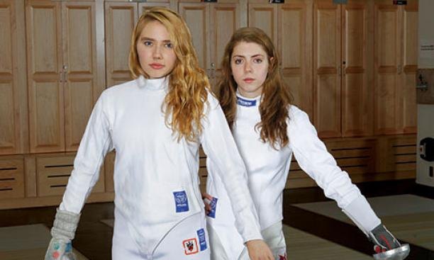 All-American fencers Gracie Stone '16, left, and Susie Scanlan '14.
