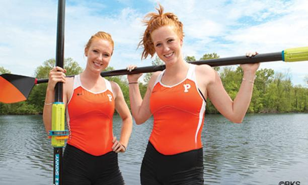 Friendly rivals and teammates: Rowers Kelsey '14, left, and Erin Reelick '16