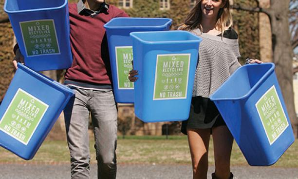 A single-stream recycling program developed by Misha Semenov '15 and Olivia Howard '15 is being rolled out across campus.