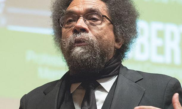 Cornel West *80 speaks at a divestment event.