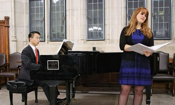 "Jason Nong '15 and Katie Dubbs '14 perform ""The Soldier"" by English poet Rupert Brooke, set to music by Ryan McCarty '14."