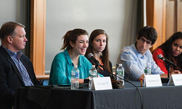 Taking part in an Alumni Day forum were, from left: Hap Cooper '82, Tiger Inn grad board president; Lucia Perasso '16, Terrace Club president; Sydney Kirby '15, former vice president of Cannon Club; Joe Margolies '15, Interclub Council president;