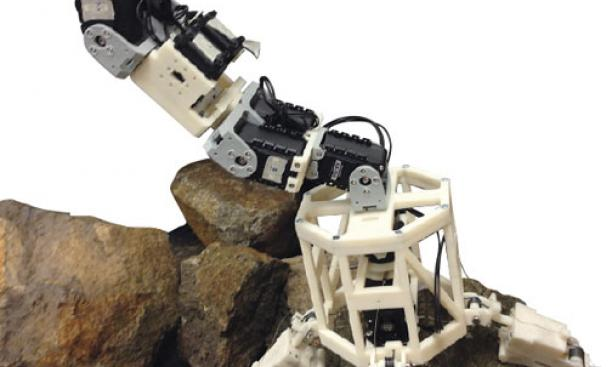 The parts of this model of a robot that could navigate an asteroid's surface were created by students on a 3-D printer.