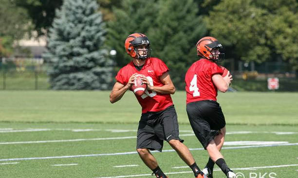 This year's Tigers are stacked with talented quarterbacks, including Chad Kanoff '17, left, and Quinn Epperly '15.