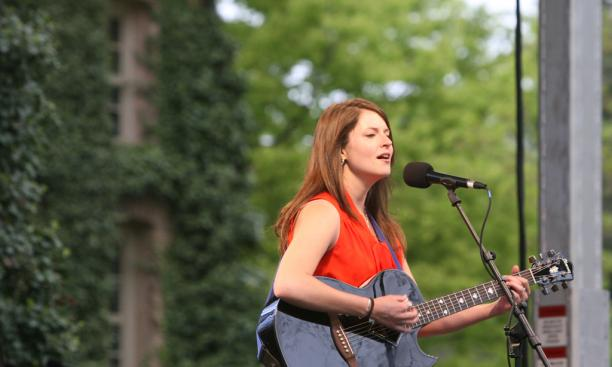 "Caroline Reese '14 performs ""Like a Rolling Stone,"" by Bob Dylan, Tilghman's favorite musician."