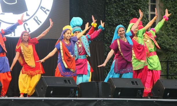 Princeton's Bhangra troupe adds splashes of color to the Shirleypalooza stage.