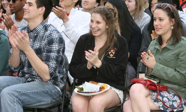 Students applaud the performances by fellow undergraduates.