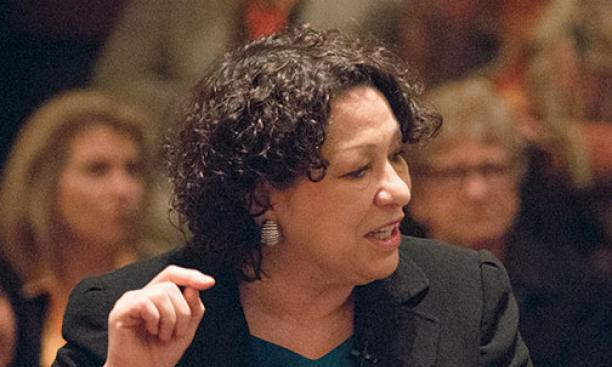 Justice Sonia Sotomayor '76 taking questions in Richardson Auditorium.