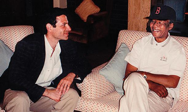 Richard Stengel '77 and Nelson Mandela at Cape Town's airport in 1993.