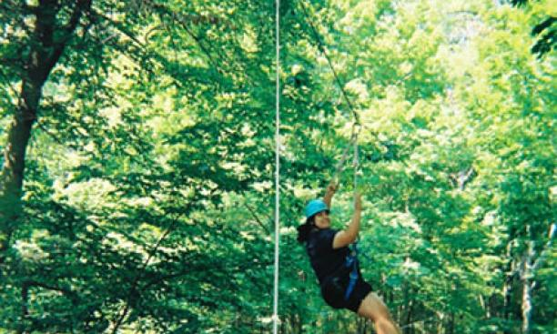 "A trip on the ""SuperZip"" zipline at Princeton Blairstown Center."