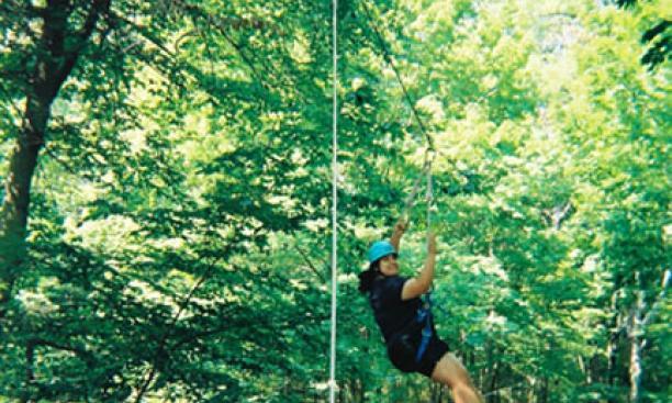 "A trip on the ""SuperZip"" zipline at Princeton Blairstown Center."