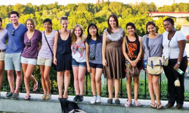 At Warsaw's Vistula River are, from left, Ben Goldman '15, Bianca Spataru '15, Rachel Neil '13, Quintin Sally '14, Eric Silberman '13, Elizabeth LaMontagne '14, Bradley Yenter '13, Michelle Scharfstein '15, Catherine Ku '14, Iwa Nawroc