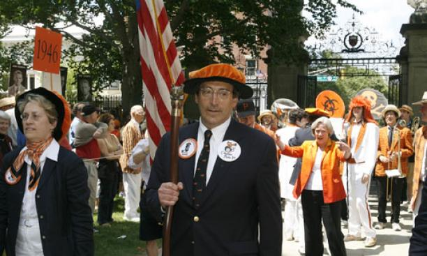 P-rade marshal Charles Plohn '66 prepares for the start of the procession; President Tilghman is at right, in front of the Princeton University Band.