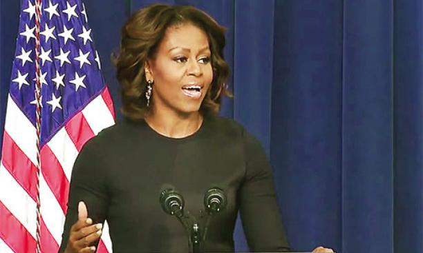 First Lady Michelle Obama '85 discussed her life-changing experiences at Princeton in advocating for greater college access for low-income students.