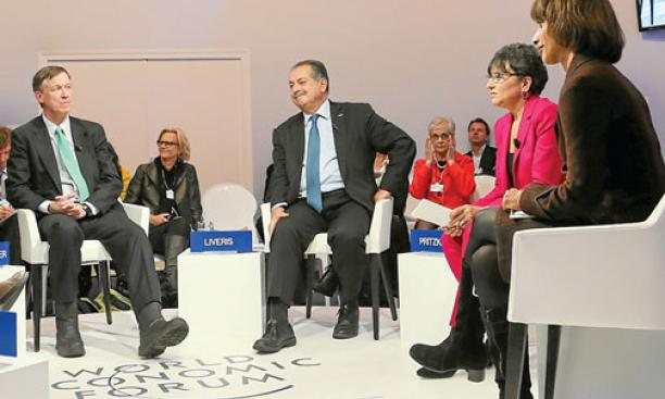 Woodrow Wilson School Dean Cecilia Rouse (right) participates in a panel at the World Economic Forum in Davos, Switzerland, with (from left) Colorado Gov. John Hickenlooper, Dow Chemical Co. CEO Andrew Liveris, and U.S. Secretary of Commerce Penny Pritzke